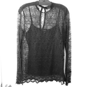 Theory Scalloped Lace Top
